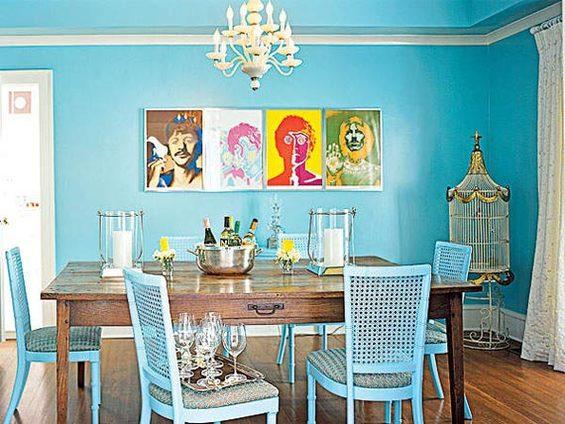 Небесно-голубой цвет в дизайне современной кухни