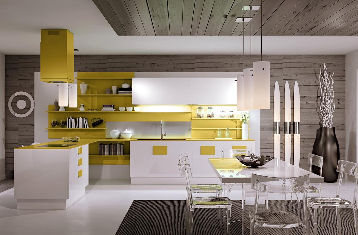 Креативный дизайн бело-жёлтой кухни scic в интерьере