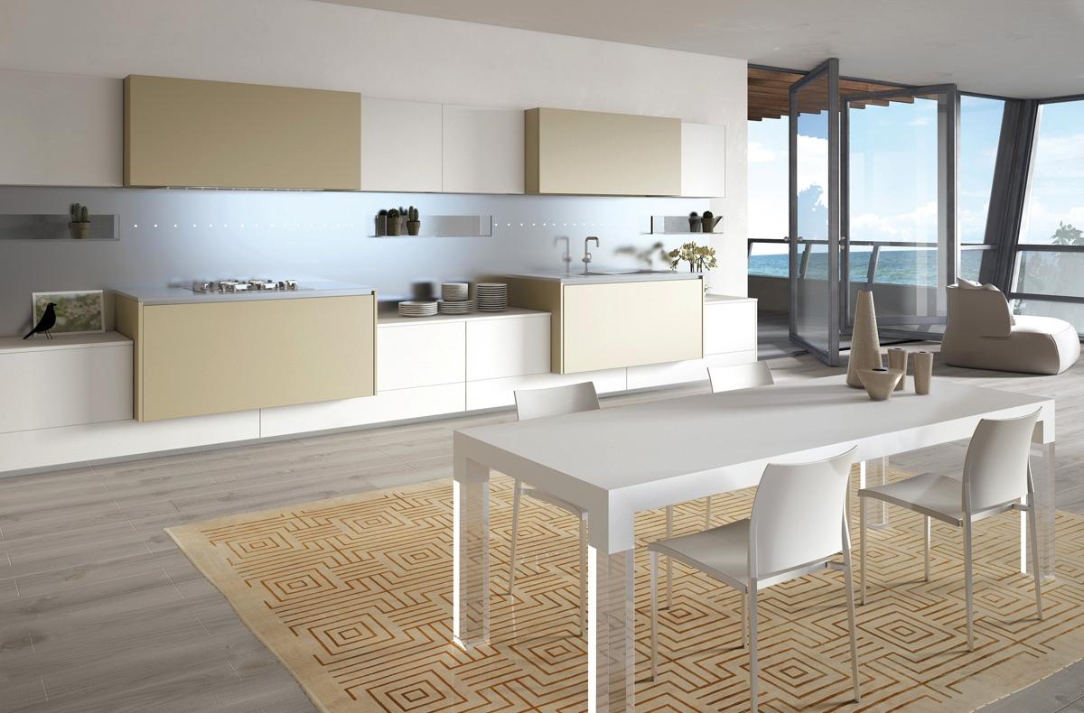 Нестандартное расположение стола в интерьере кухни