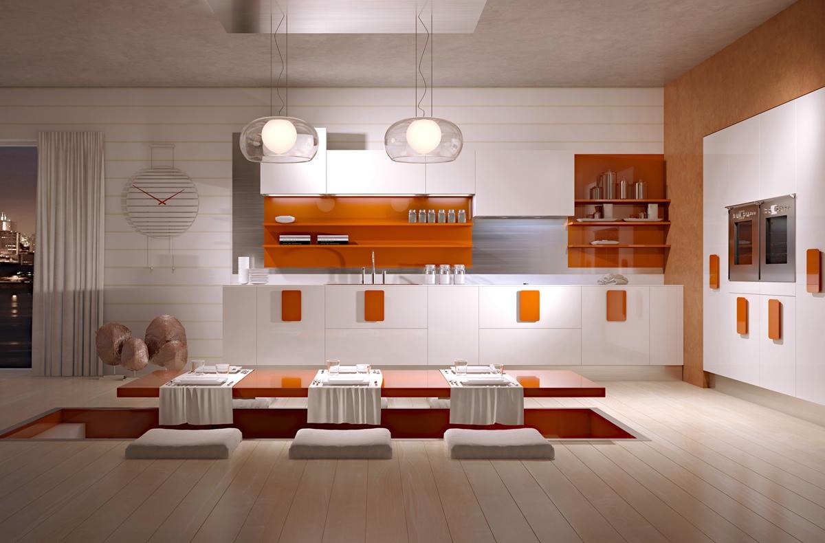 Оригинальный стол с прозрачными ножками в интерьере кухни