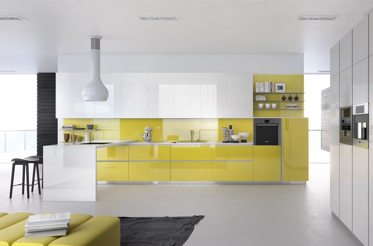 Бежевый кухонный остров в интерьере кухни