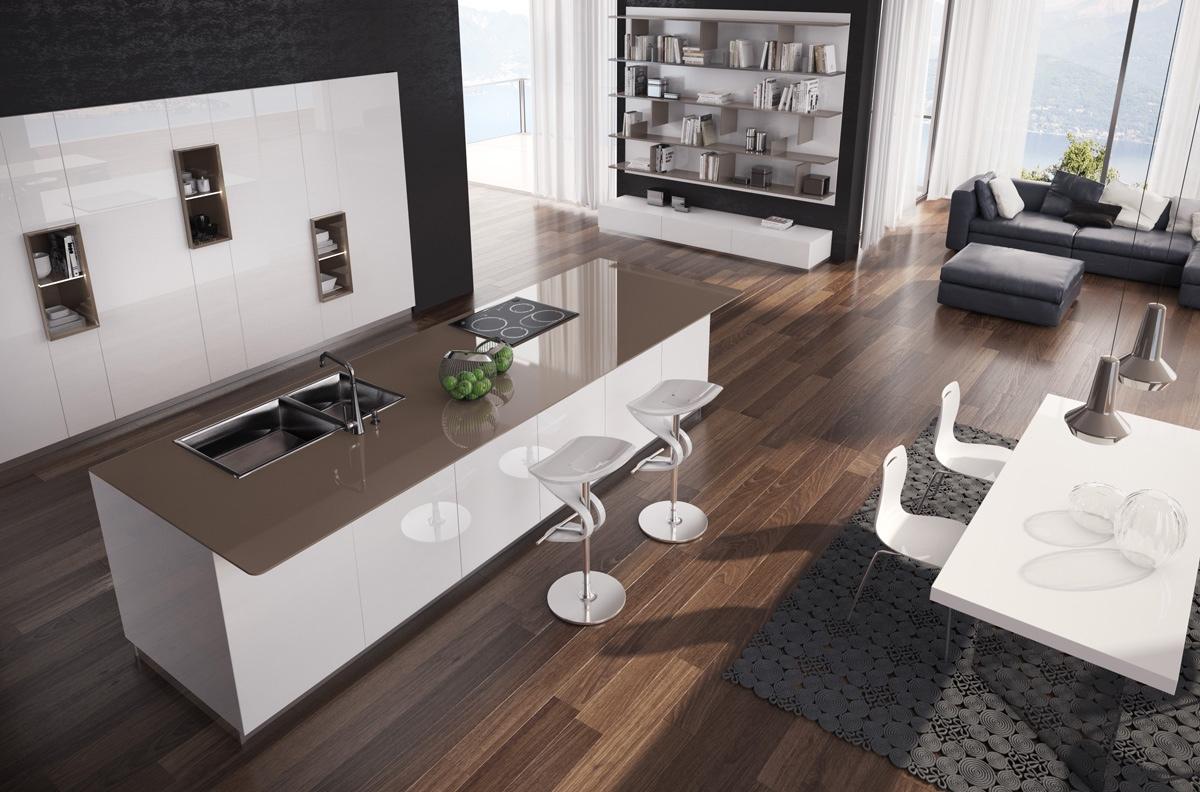 Большой кухонный остров с коричневой столешницей в интерьере кухни