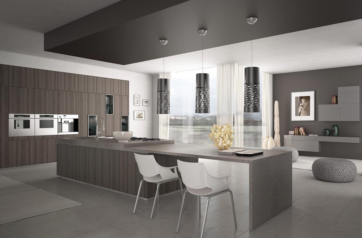 Необычные потолочные светильники чёрного цвета в интерьере кухни