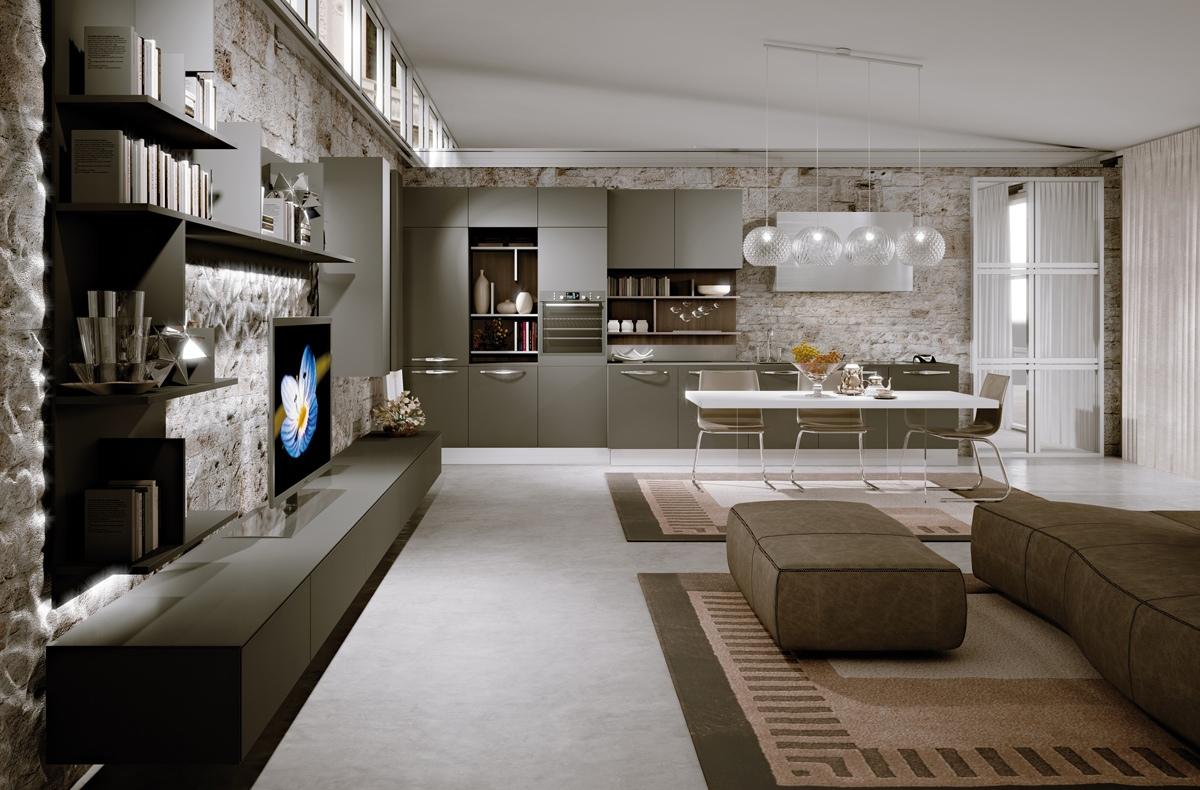 Большой кухонный остров белого цвета в интерьере кухни