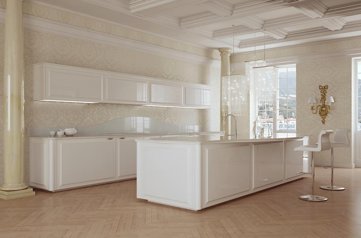 Дизайн классической кухни scic в белом цвете