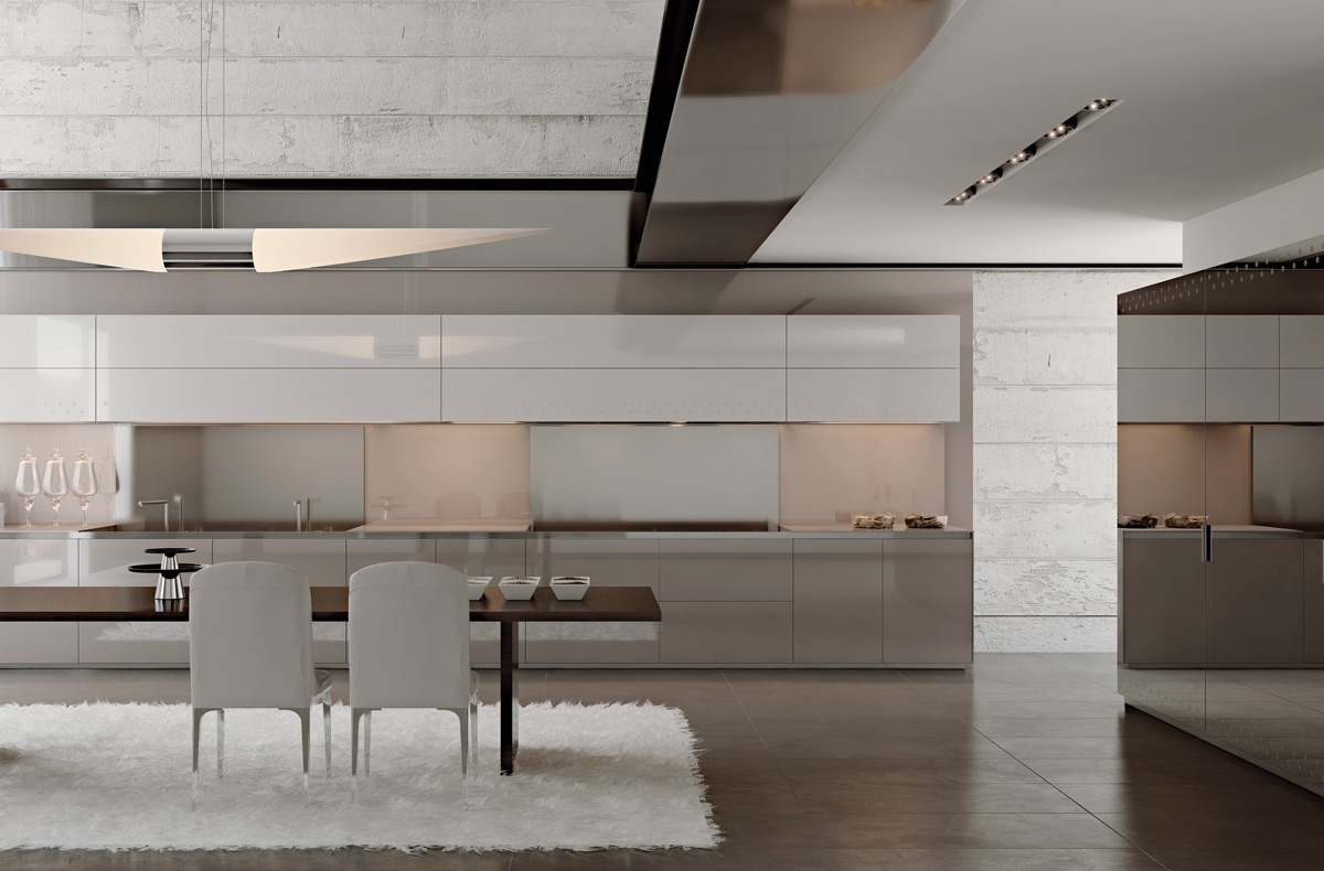Бело-серая кухня scic в современном стиле