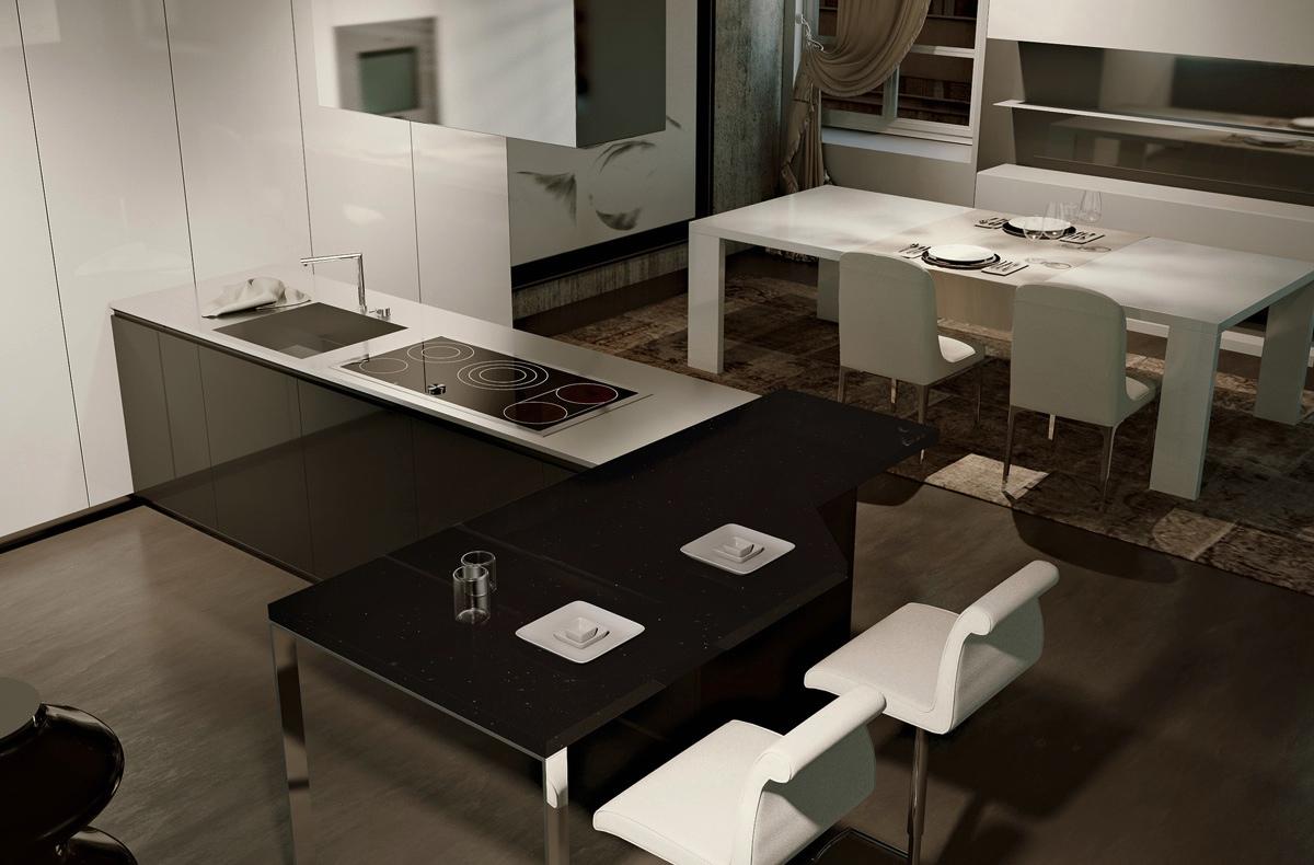 Роскошный дизайн чёрно-белой кухни scic в интерьере