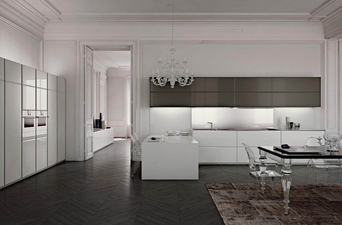 Сочетание чёрно-белой кухни scic и чёрного пола в интерьере