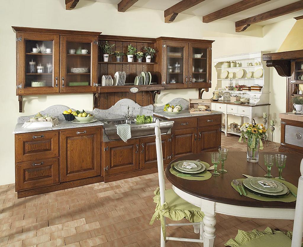 Кухни в стиле кантри: интерьер с деревянной мебелью