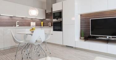 Шикарный дизайн интерьера белой кухни, совмещённой с гостиной от Goldfish-Interiors