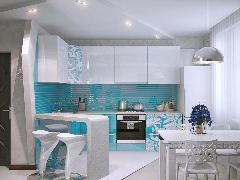 Дизайн интерьер кухни с барной стойкой