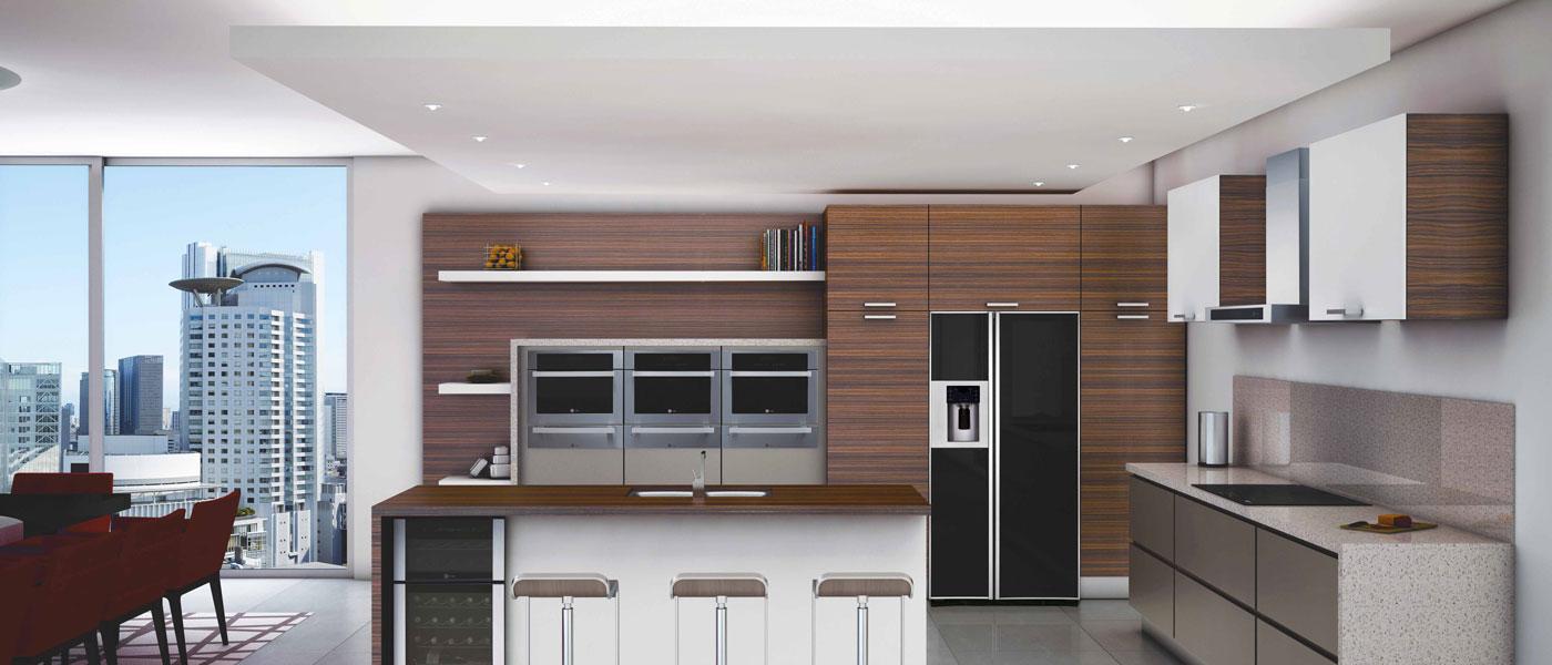 Кухня в стиле хайтек - черный встроенный холодильник