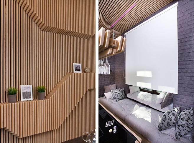 Фотоколлаж: стильное оформление кухни-столовой с барной стойкой от Geometrix Design