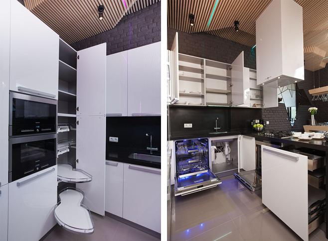 Фотколлаж: стильное оформление кухни-столовой с барной стойкой от Geometrix Design