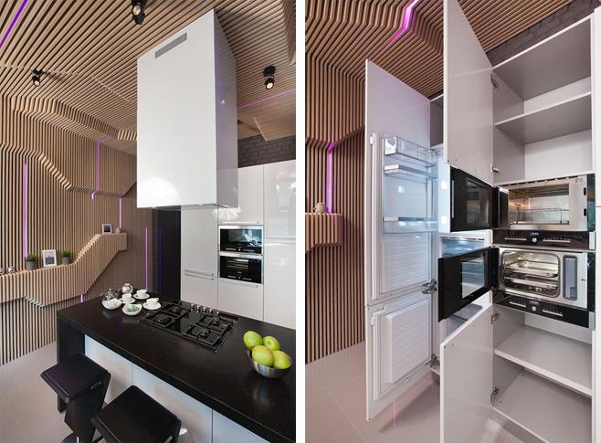 Дизайн кухни 18 кв.м с барной стойкой и диваном