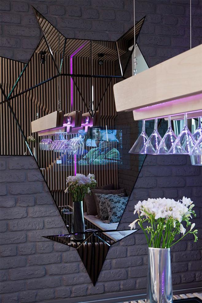 Стильное оформление кухни-столовой с барной стойкой от Geometrix Design