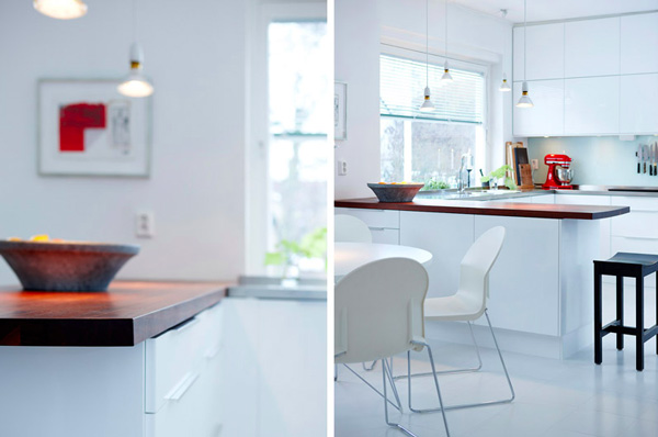 Кухня в белых тонах: тёмная деревянная столешница гарнитура
