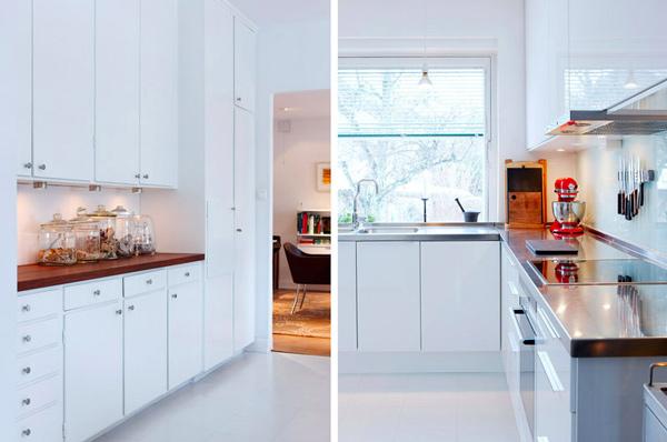 Кухня в белых тонах с угловым гарнитуром