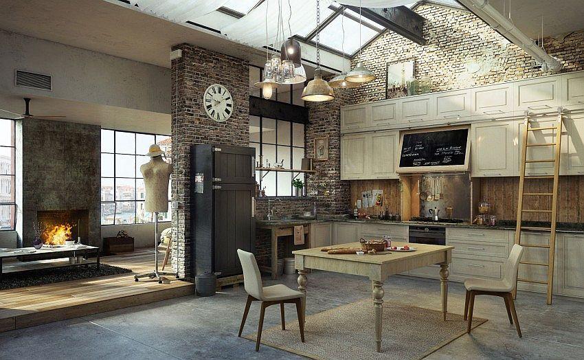 Кухня в индустриальном стиле - Фото 29