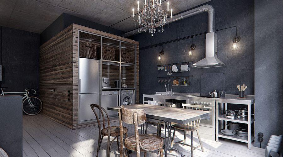 Кухня в индустриальном стиле - Фото 44