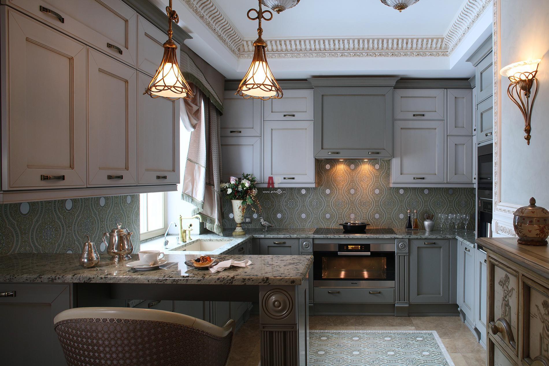 Кухня в сером цвете в стиле модерн