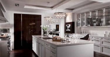 Кухня в стиле эклектика с белым островом