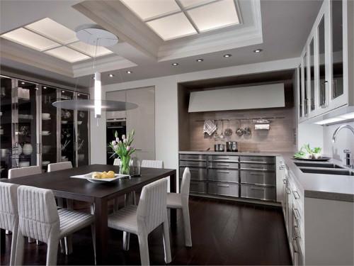 Кухня в стиле эклектика: мягкие белые стулья