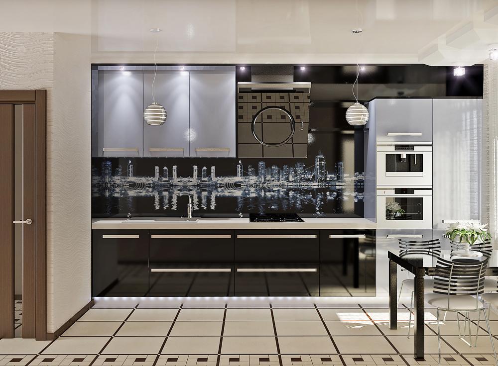 Потрясающий дизайн интерьера кухни модерн в чёрной гамме