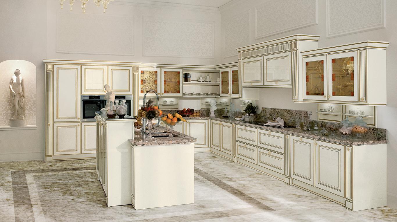 Кухня в стиле необарокко - цвет слоновая кость