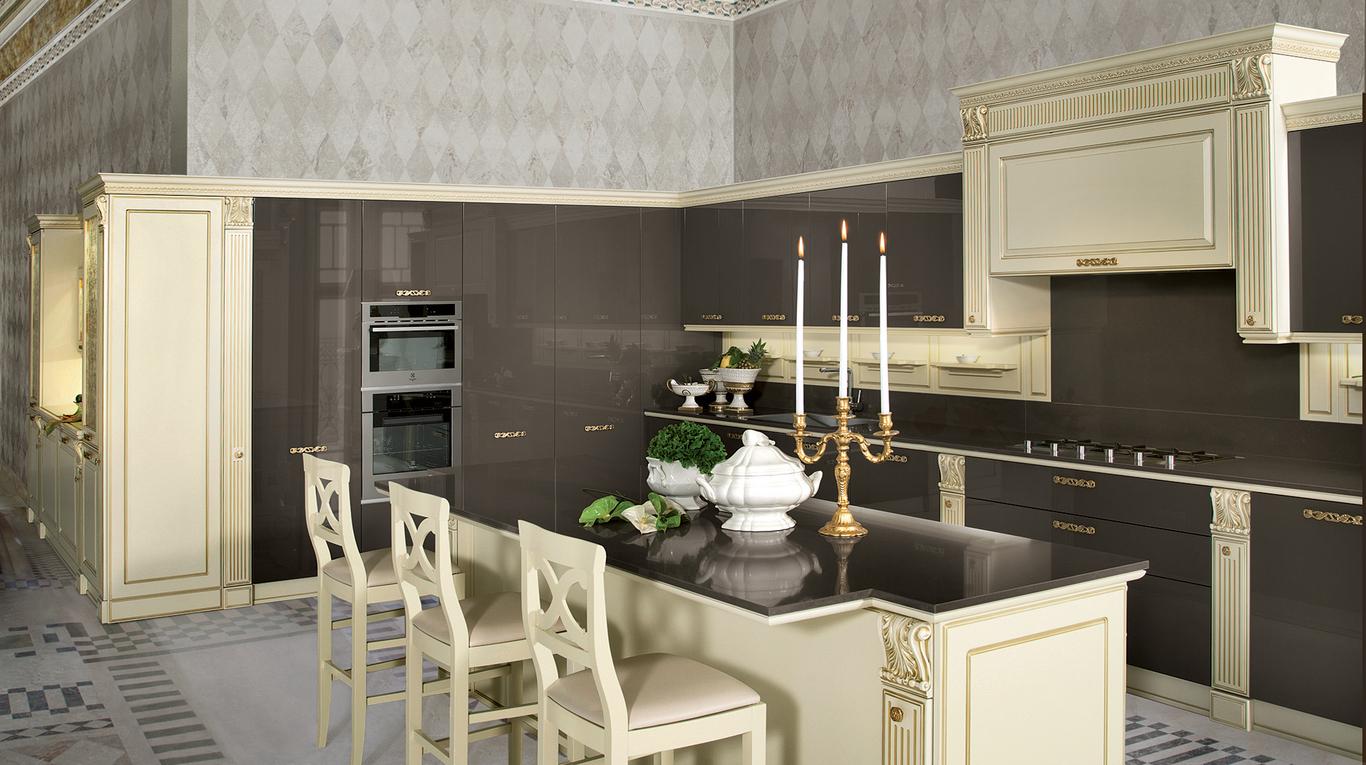 Кухня в стиле необарокко в черном цвете