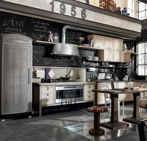 Кухня в винтажном стиле: чёрная стена с надписями мелом