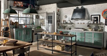 Бирюзовая кухня в винтажном стиле