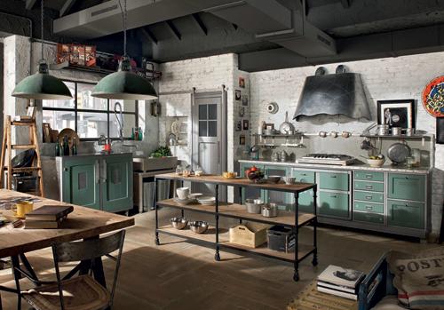 Кухня в винтажном стиле с зелёными ящиками и абажурами