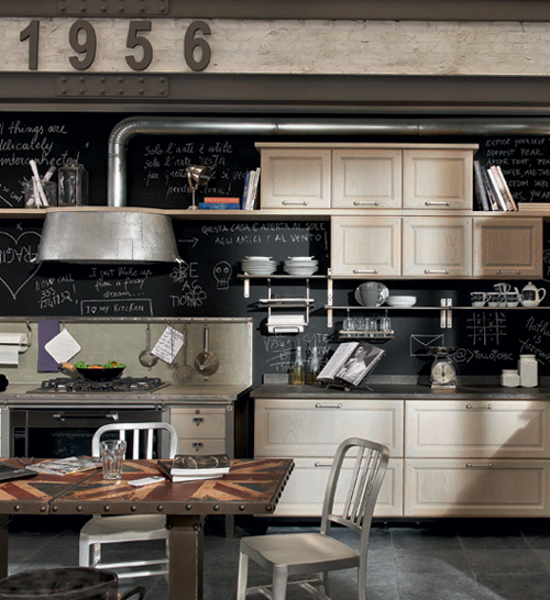 Кухня в винтажном стиле: стол с английским флагом