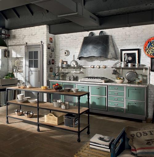 Кухня в винтажном стиле: бирюзовые ящики