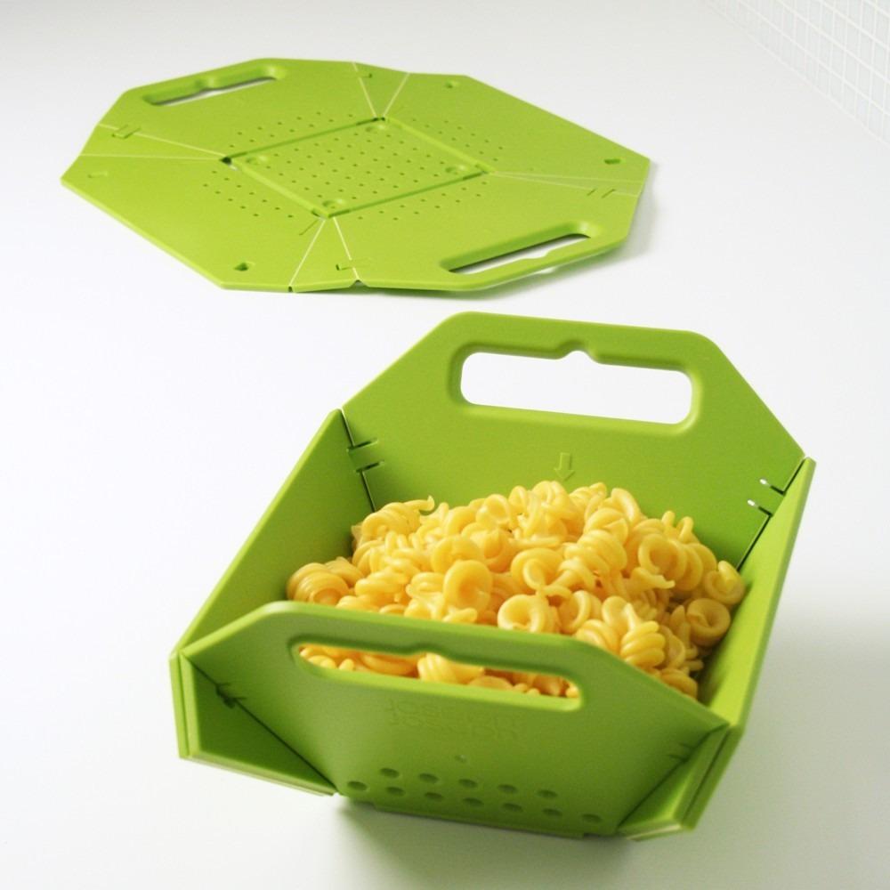 Кухонный гаджет: складной пластиковый дуршлаг с крышкой