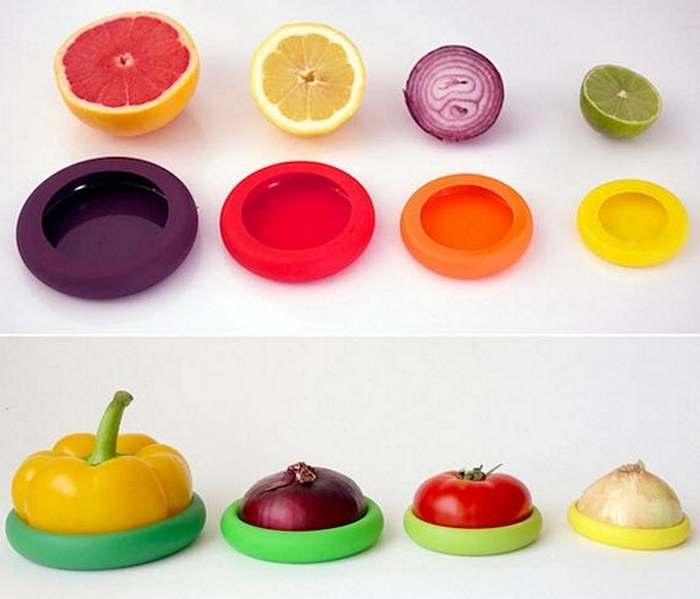 Кухонный гаджет: силиконовые чехлы для хранения нарезанных продуктов