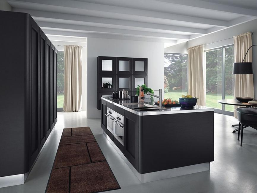 Кухонные гарнитуры в интерьере: чёрный кухонный остров