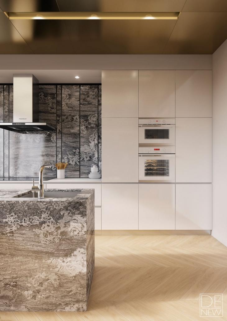 Кухонные гарнитуры в интерьере: фартук и столешница из камня