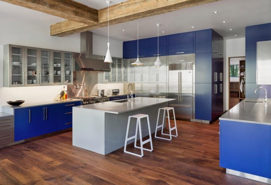 Кухонные шкафы в синем цвете
