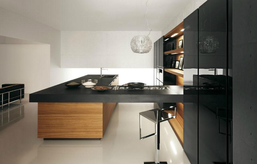 Кухонные современные шкафы - чёрный стол