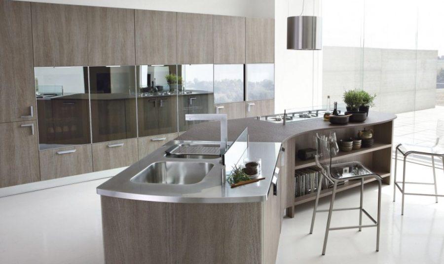 Кухонные современные шкафы - серый стол
