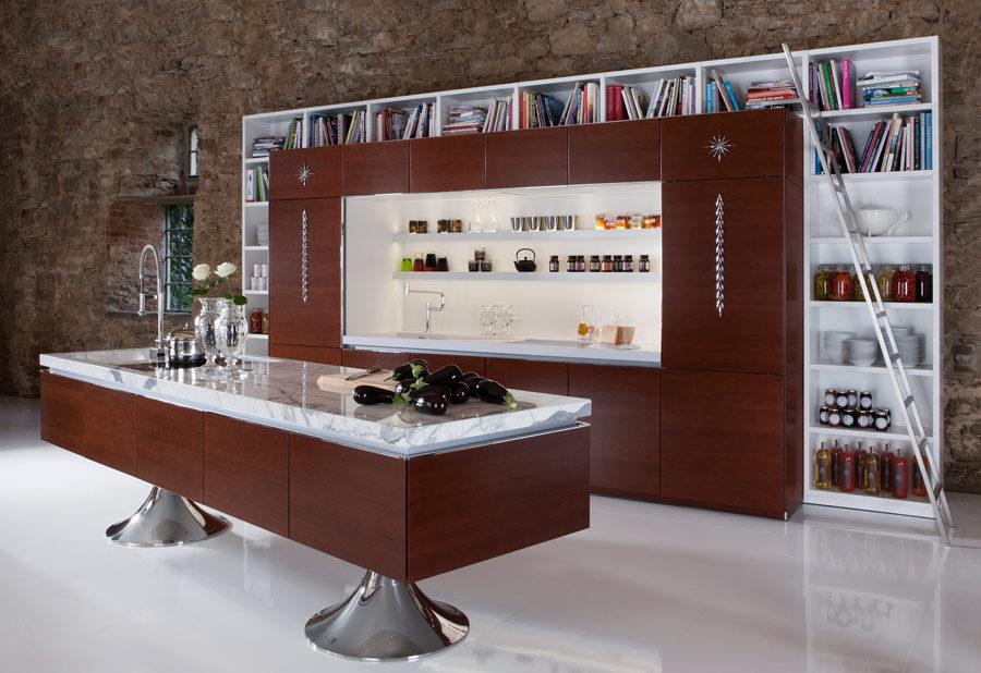 Кухонные современные шкафы - бордовое дерево