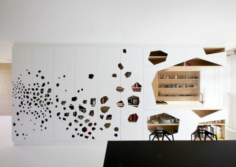 Кухонные современные шкафы - баночки на полках