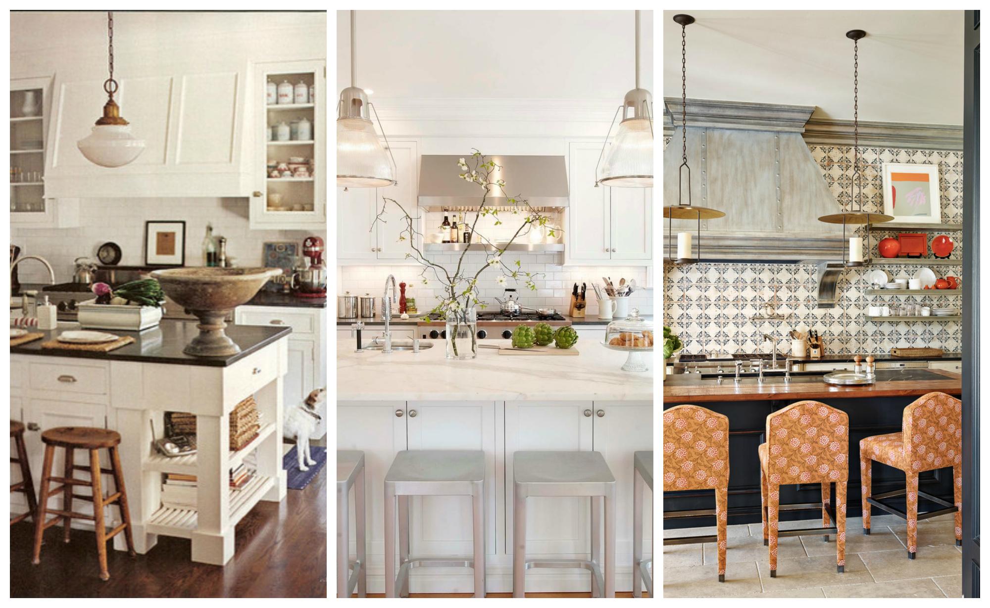Разнообразные кухонные вытяжки в интерьерах кухонь