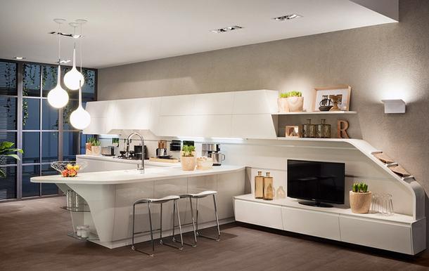 Дизайн белой кухни от Scavolini в стиле модерн