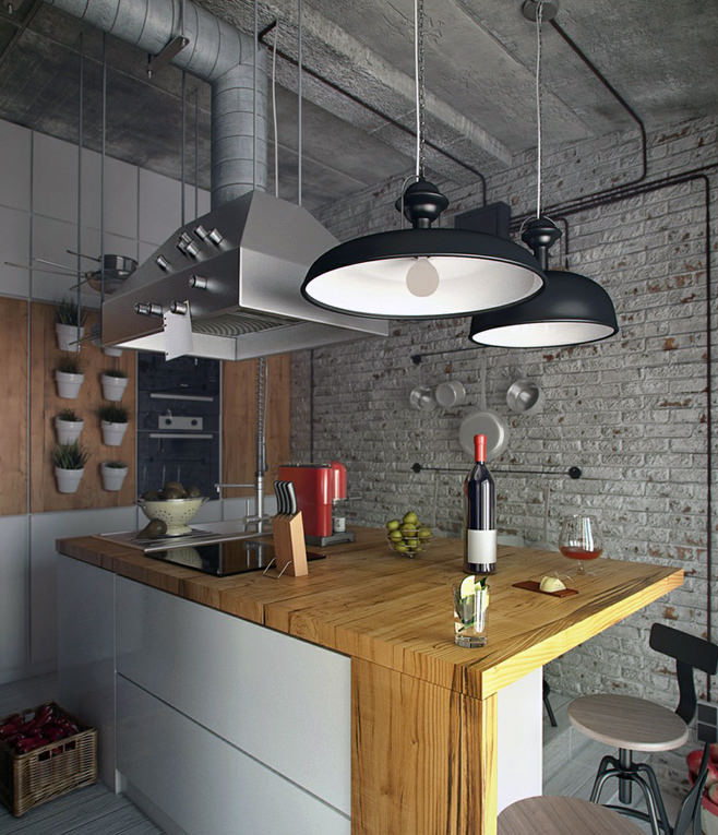 Подвесные светильники над кухонным островом в стиле лофт