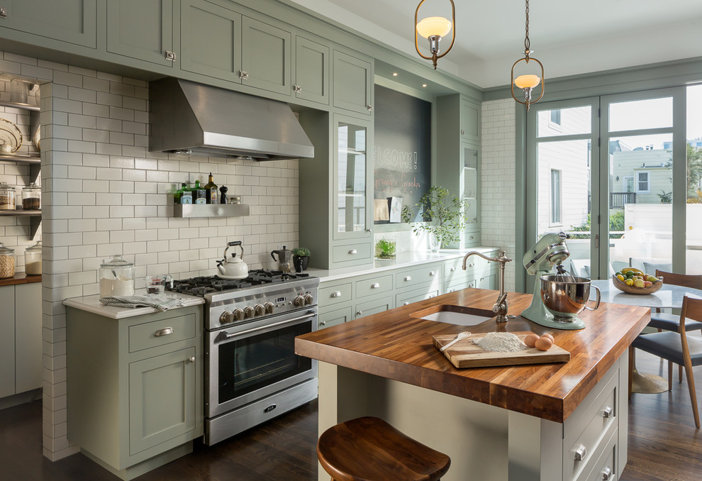 Стильные идеи дизайна интерьера кухни - зелёный цвет в интерьере кухни