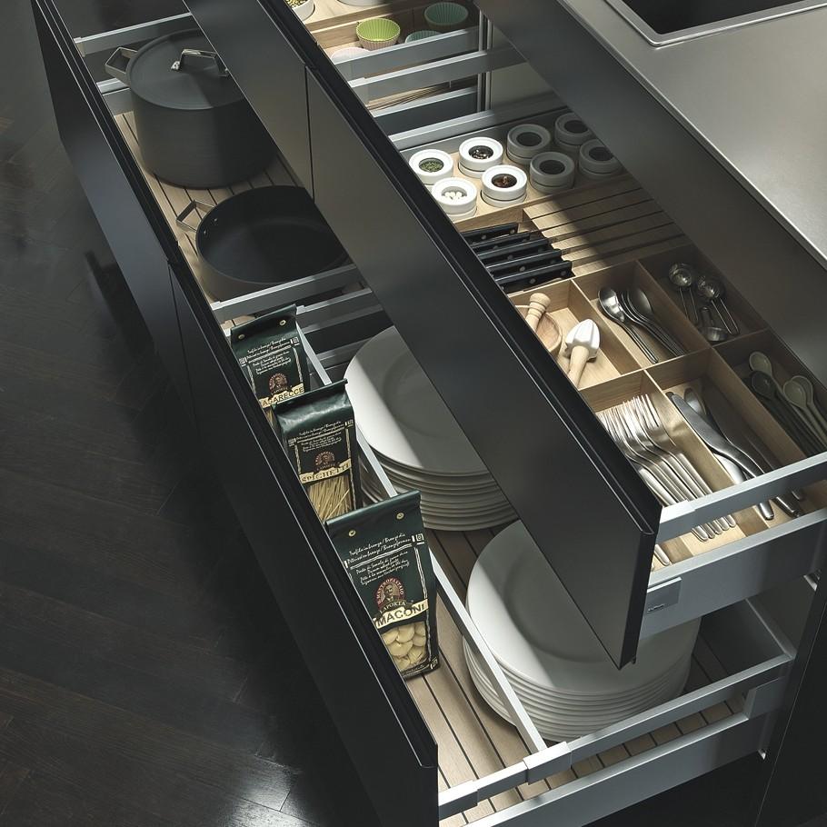 Большие ящики для хранения посуды и кухонных аксессуаров