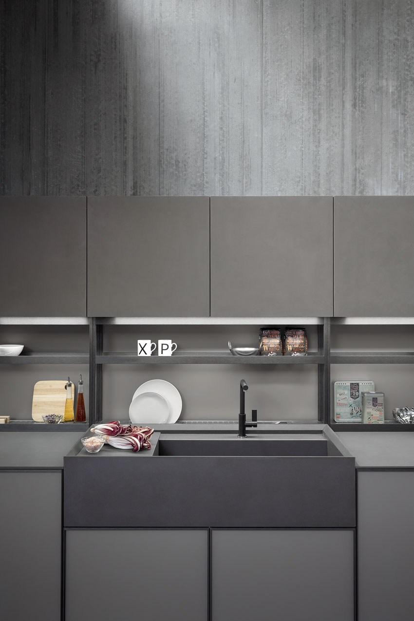Мебель для кухни в минималистском стиле от дизайнера Стефано Каваццана - серый в интерьере
